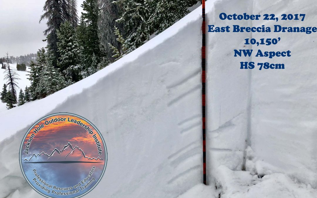 October 22, 2017 – Snowpack Update – East Breccia Drainage – Togwotee Pass Area
